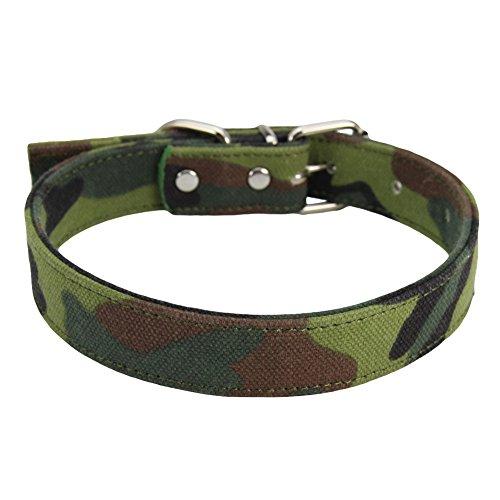 quanjucheer Hundehalsband, verstellbar, Camouflage, Canvas, für Outdoor-Training, Größe M