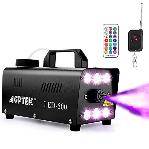 AGPTEK Machine à fumée automatique avec 6 LED et 13 effet de lumière LED colorée, idéale pour Halloween, Noël, mariage, fêtes et DJ sets
