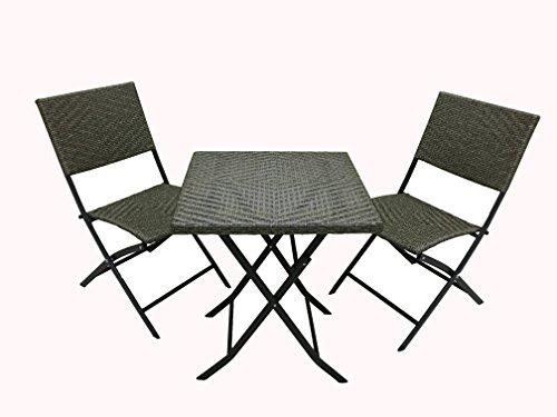 Michele Sogari & C. Srl Set Giardino Bistrot Tavolino e 2 Sedie in Metallo e Simil Rattan Colore Antracite