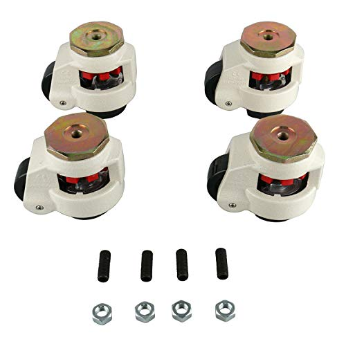 Homend 4 Pack Leveling Casters GD-80S Stem Mounted Leveling Caster 1102lbs/Per Leveling Caster Wheels Nylon Wheel and NBR Pad (Stem Mounted 1102lbs/Per)