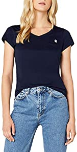 G-STAR RAW Eyben Slim V T Wmn S/s Camiseta, Azul (Sartho Blue 6067), 40 (Talla del fabricante: Large) para Mujer