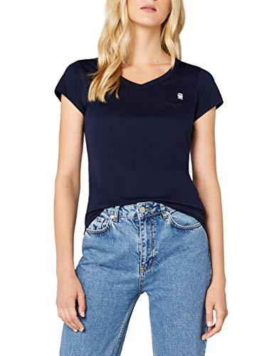 G-STAR RAW Eyben Slim V T Wmn S/s Camiseta, Azul (Sartho Blue 6067), 36 (Talla del fabricante: Small) para Mujer