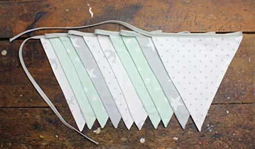miRio • Premium Wimpelkette Kinder | Deko fürs Mädchen/Jungen Kinderzimmer | Stoff Girlande für Baby Geburtstag | handgemacht aus 100% Baumwolle | beidseitige Muster (10 Wimpel, MINT GRAU)