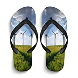 INTERESTPRINT Summer Beach Home Non-Slip Flip Flop Slippers Sunset Over Wheat Fields with Wind Turbines Slim Thong Sandals for Men L