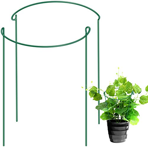 LEOBRO Garden Support Stake, 2-Pack Half Round Metal Garden Plant Supports, Garden Plant Support Ring, Border Support, Plant Support Ring Cage for Rose, Flowers Vine (9.4' Wide x 15.6' High)