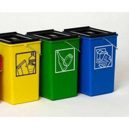 PLASTICOS HELGUEFER - Cubo Ecologico Selectivo 15L con Tapa-Pack 3 ud-