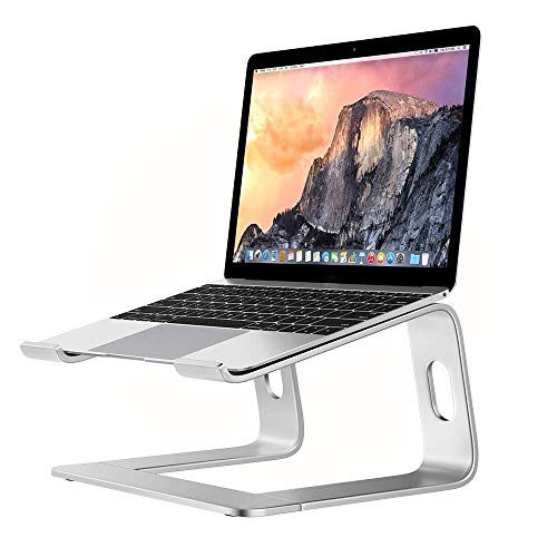 GRANDIX Laptop Stand Ventilated Computer Holder Updated Ergonomic Laptop Riser Compatible with MacBook Pro, All Notebooks, HUAWEI Matebook, Lenovo, Samsung, HP, Dell (Silver)