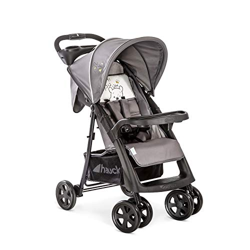 Hauck Shopper Neo II Pushchair up to 25 kg with Lying Position from Birth, Compact Folding, Lightweight Only 7.5 kg, with Two Cup Holders - Pooh Cuddles Grey