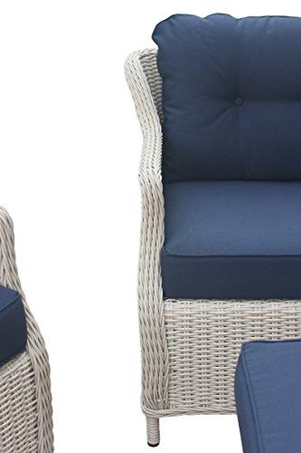 Rattan Gartenmöbel – Garten Lounge Set – Klassisch. Elegant. Komfortabel. – Weißton. Wetterfest. Aluminiumrahmen. Kissenauflagen 10 cm – Rattan Lounge aus Polyrattan Sitzgruppe Garnitur – hervorragende Verarbeitung – top Qualität – preisgünstig (2-Sitzer Sofa im Set, Weiß mit brauner Struktur – Karamel) Bild 4*