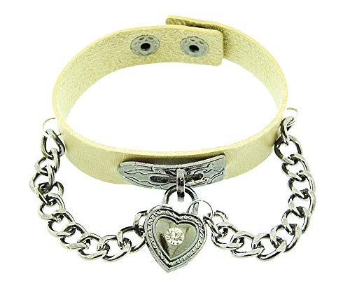 Vrouwelijke armband - vrouw - hart - armband - kunstleer - hart - knop - ketting - rock - steampunk - gothic - punk - beige zilver - kerst - origineel cadeau idee