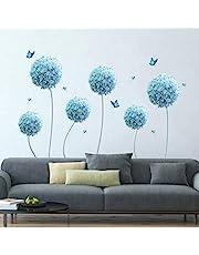 decalmile Pegatinas de Pared Allium Azul Vinilos Decorativos Diente de León Flores Mariposa Adhesivos Pared Infantiles Habitación Salón Dormitorio