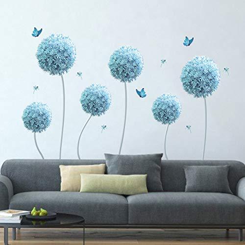 decalmile Adesivi Murali Allium Blu Floreali Adesivi da Parete Fiori Decorazione Murale Camera da Letto Soggiorno Dormitorio