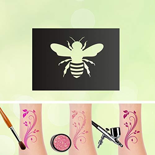 Tattoo Schablone Biene Glitzertattoos Selbstklebend Kinder Schminken Airbrush Frühling Größe 1 Stück