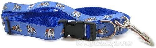 English Bulldog Dog Collar and Leash Set - Blue