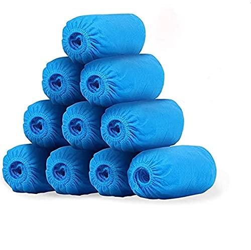 NineSun 100 Piezas Cubiertas De Zapatos Desechables Cubrezapatos Desechables Antideslizantes Protector,Engrosada a Prueba de Polvo(Azul 390g)