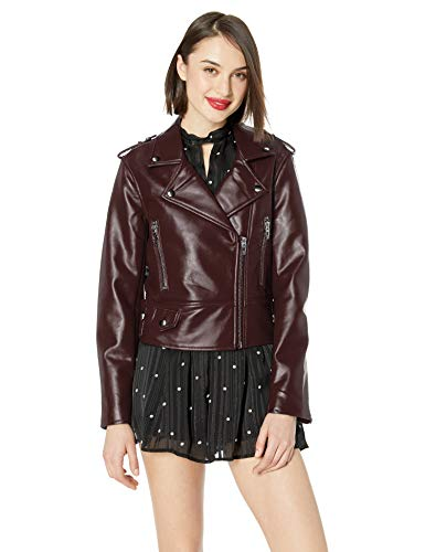 [BLANKNYC] womens Vegan Leather Moto Jacket, Camel, X-Small US