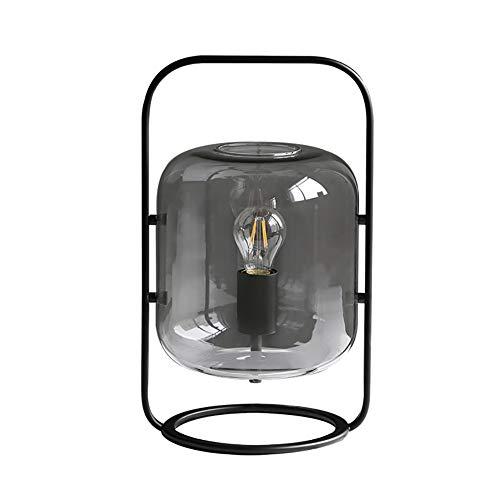 Ideahome Nórdico Cilindro Vidrio Sombra Led Lámpara Escritorio,Geométrico Planchar Arte Base Lámpara De Mesa,Clásico Salón Dormitorio Cabecera Lámpara Escritorio-Negro 9.84'×15.75'