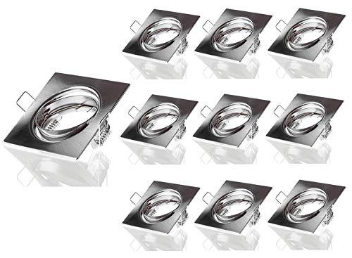 10 focos cuadrados LED, color cromo, cepillado, marco empotrable, focos orientables, para empotrar, incluye portalámparas GU10