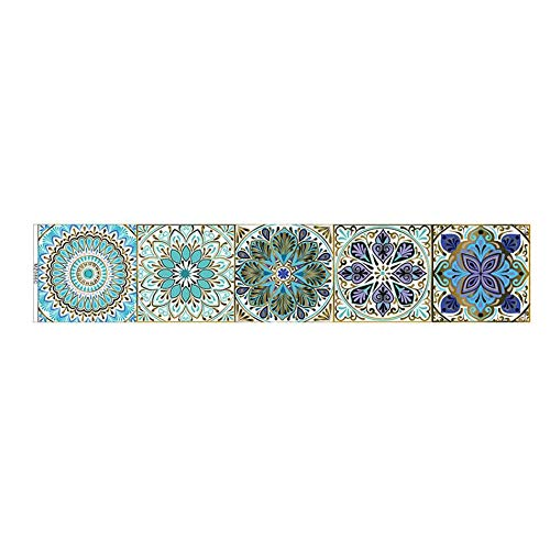 ZYLE Pegatinas de Azulejos de la Tira de la Mandala Azul, el Papel Pintado Decorativo del baño de la Cocina, Papel Pintado Autoadhesivo Impermeable, un Conjunto de 5 (Color : C, Size : 30x150cm)