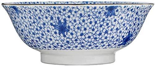 Qilo Porcelana Azul y Blanca bajo vidriado Cuencos - 8 Pulgadas - vidriado Craft Estilo japonés Vajilla - Apto for Horno de microondas, lavavajillas, Desinfección del gabinete Tazón