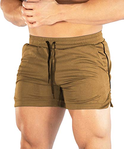 Malavita Men's Gym Workout Shorts Running Short Boxing Shorts with Pockets Khaki Large(Waist:31.5'-35')
