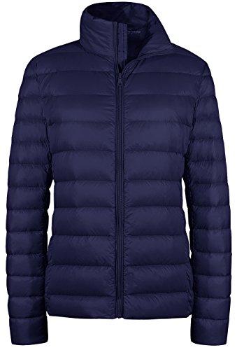 Wantdo Women's Winter Coats Packable Ultra Light Weight Down Jacket Navy 2XL