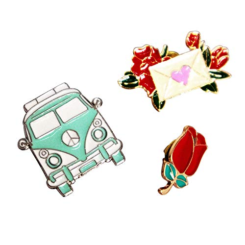 Preisvergleich Produktbild Quirky Multicolor-Revers-Stifte Rose Umschlag und Van Brosche 3er-Set für Mädchen / Frauen / Schwester / bester Freund / Cousin / Freundin / Geburtstag X9V Design45