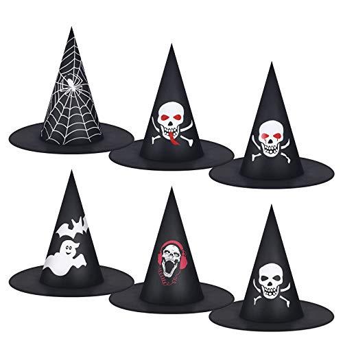 MELLIEX 6 Stück Hexenhut, Halloween Hexenhut Damen Oxford Stoff Schwarz Hexe Hut Karneval Zylinder Spitzhut Zauberhut für Erwachsene Kinder