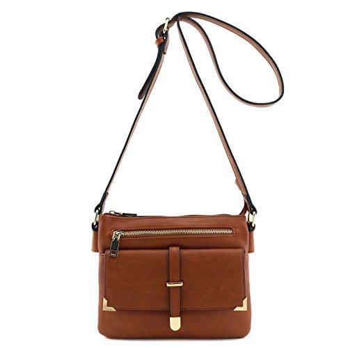 Flap Pocket Crossbody Bag Brown