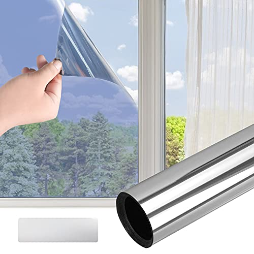 Colmanda Ventana Espejo, Película de Ventana Película Reflectante Película Adhesiva para Ventana - Anti 99% UV Película de Vidiro Unidireccional, Efecto Espejo Cristal para Hogar, Oficina (90*400cm)
