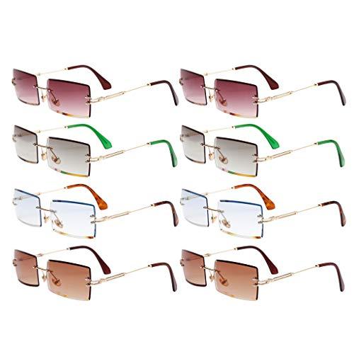 Harilla Gafas de Sol Sin Montura de 8 Piezas Gafas con Lentes Tintadas de Diseñador Retro UV 400 Sombras
