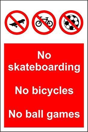 Geen Skateboarden Geen Fietsen Geen Bal Games Teken Stickers, Waarschuwing Stickers Labels, Zelfklevend Vinyl,Veiligheidswaarschuwing Teken Stickers, 30X20CM