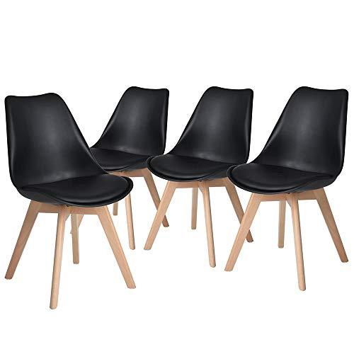 DEWINNER Lot de chaises de Salle à Manger scandinaves, Chaises Rétro Tulip Bois de hêtre Massif (Lot de 4, Noir)