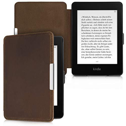 kalibri Hülle kompatibel mit Amazon Kindle Paperwhite - Leder eBook eReader Schutzhülle Cover Case (für Modelle bis 2017) - Braun