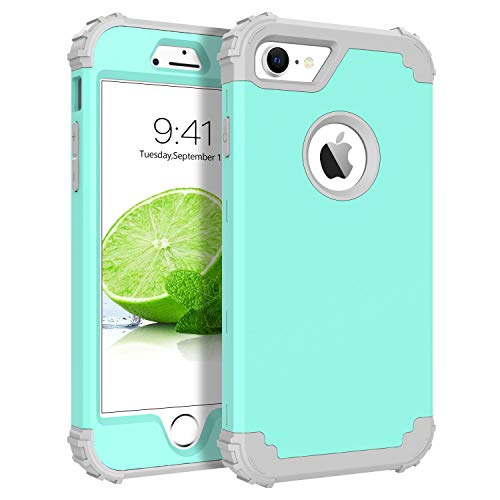 BENTOBEN iPhone 7 Case, iPhone 8 Case, 3 in 1 Hybrid Hard PC Cover & Soft Rubber Bumper Heavy Duty Shockproof Full Body Rugged Protective Phone Cover for iPhone 7/iPhone 8 (4.7Inch), Turquoise Green