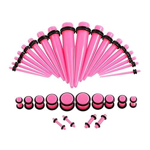 X/L Juego de 36 dilatadores acrílicos para orejas y túneles, expansores para orejas de 14G-00G (color 07)