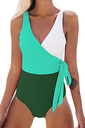 CUPSHE Women's Orange White Bowknot Bathing Suit Padded One Piece Swimsuit Green White, X-Large (USA 16/18)