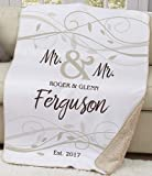 Personalized Wedding Sherpa or Couples Blanket. Lovely Wedding Mr. & Mr. LGBTQ Custom Sherpa Couples Throw