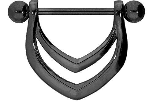 PIERCINGLINE Chirurgenstahl Nippelpiercing Barbell | Schild | Piercing Brust Nippel Brustwarze | Farb & Größenauswahl