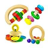 Wiivilik 4pcs / Set Buntes Holz-Bell-Geklapper Handglocken Baby-Kind-Musik-Lernspielzeug Musikinstrumente Rasseln Baby-Geschenk Gehirn Spiel