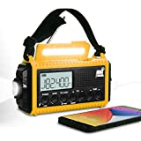 Emergency Crank Radio Weather AM/FM Radio, 5000mAh Solar Hand Crank Portable Radio, N0AA Weather Scan Survival Radio with Flashlight, USB Charger, SOS Alarm for Household and Outdoor Emergency(Yellow)