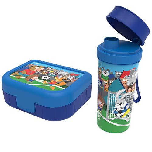Rotho Memory Kids, Juego de 2 loncheras con botella de agua, Plástico PP sin BPA, azul con el motivo fútbol, 1l x 0.4l 20.7 x 7.5 x 17.4 cm