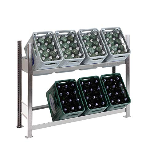Getränkekistenregal Kastenständer 1000 x 1360 x 336 mm, komplett verzinkt, 2 Ebenen, für bis zu 8 Kästen; Industriequalität MADE IN GERMANY