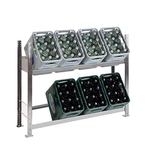SCHULTE Getränkekisten-Grundregal 1000 x 1360 x 336 mm, komplett verzinkt, 2 Ebenen, für bis zu 8 Kästen; MADE IN GERMANY