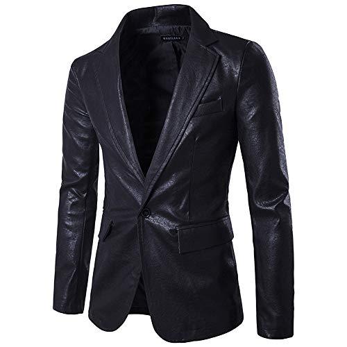 Longra Herren Leder-Sakko Slim Fit Anzugjacken Blazer Eleganter Freizeitanzug einreihig EIN Knopf Lederanzug Jacke Casual Fashion einfarbig Mantel