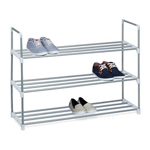Relaxdays Schuhregal HBT: ca 70 x 90 x 30cm Schuhschrank aus pulverbeschichtetem Metall mit 3 Ablagen als Schuhkommode und Schuhaufbewahrung beliebig erweiterbar Schuhablage für 12 Paar Schuhe, silber
