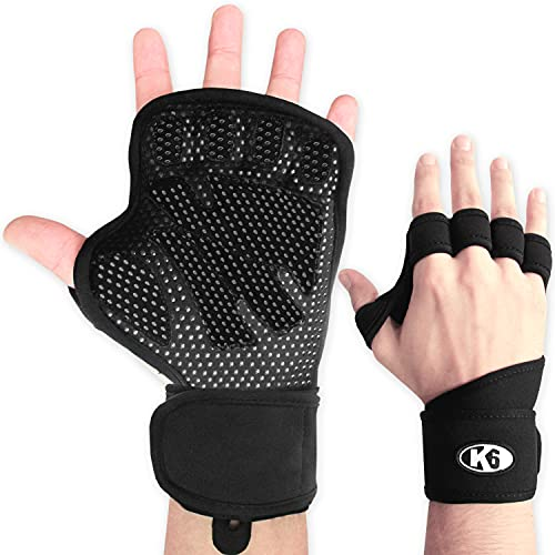 K6 Fitness Hand Grips for Workout, Crossfit or Weightlifting   Newest & Improved 2021 Grip Model   Sweat Free Firgerless Glove