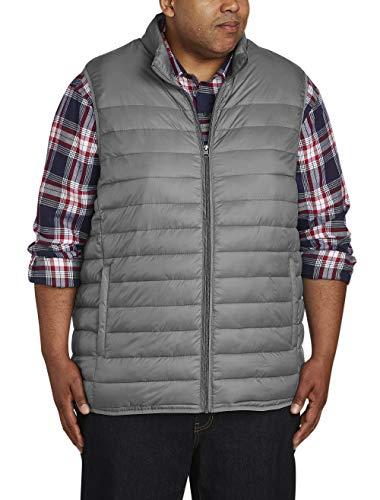 Amazon Essentials Men's Big & Tall Lightweight Water-Resistant Packable Puffer Vest, Gray, 4X