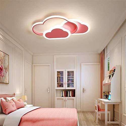 Mr.Zhang's Art Home Lámpara De Techo De Nubes LED De Atenuación De La Lámpara De Dibujos Animados Lámpara Del Dormitorio Habitación De Los Niños (Color : Pink, Size : 52 * 31 * 6 cm)