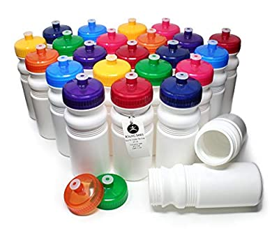 Rolling Sands 20 Ounce Sports Water Bottles 24 Pack, BPA-Free, Made in USA, Dishwasher Safe, White Bottles/Variety